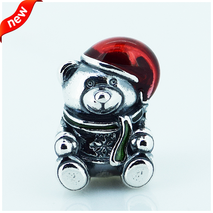 Fits Pandora Charms Bracelet DIY Beads Lovely Teddy With Red And Green Enamel Authentic 925 Sterling Silver Jewelry Wholesale