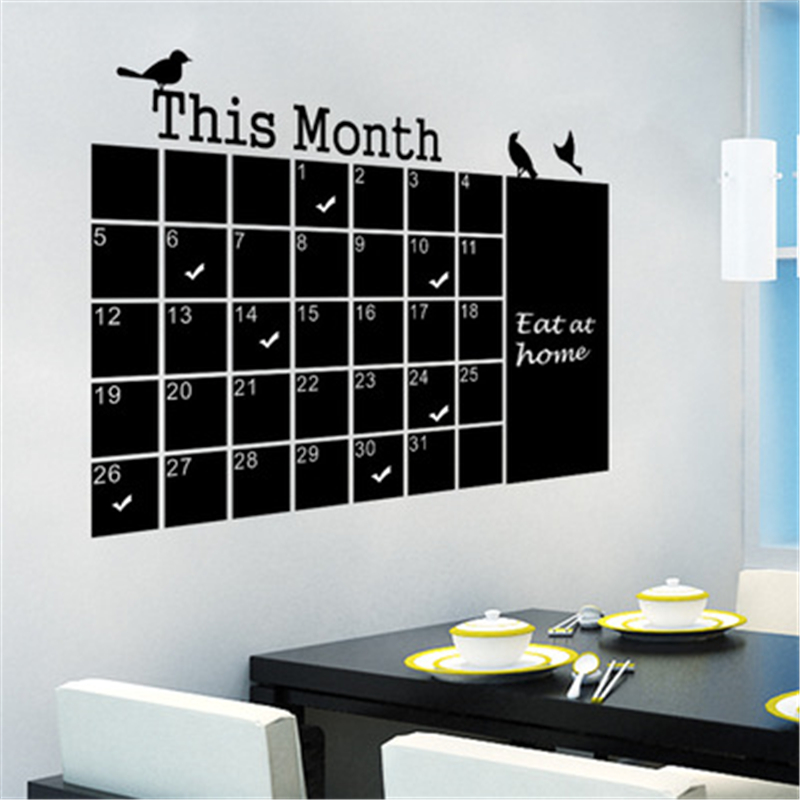 New Generation Monthly Chalkboard Calendar Green Wall Stickers 57*75CM Diy Home Office W ...
