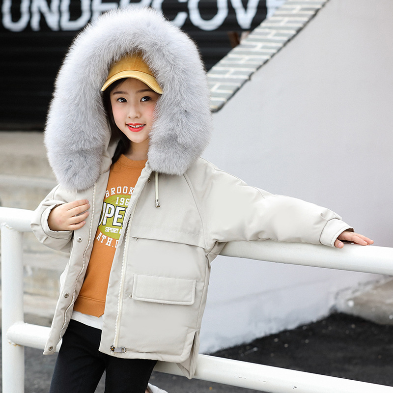 paragraphs children winter girl down jacket white duck down short thickening han edition cuhk children's 2018 new coat