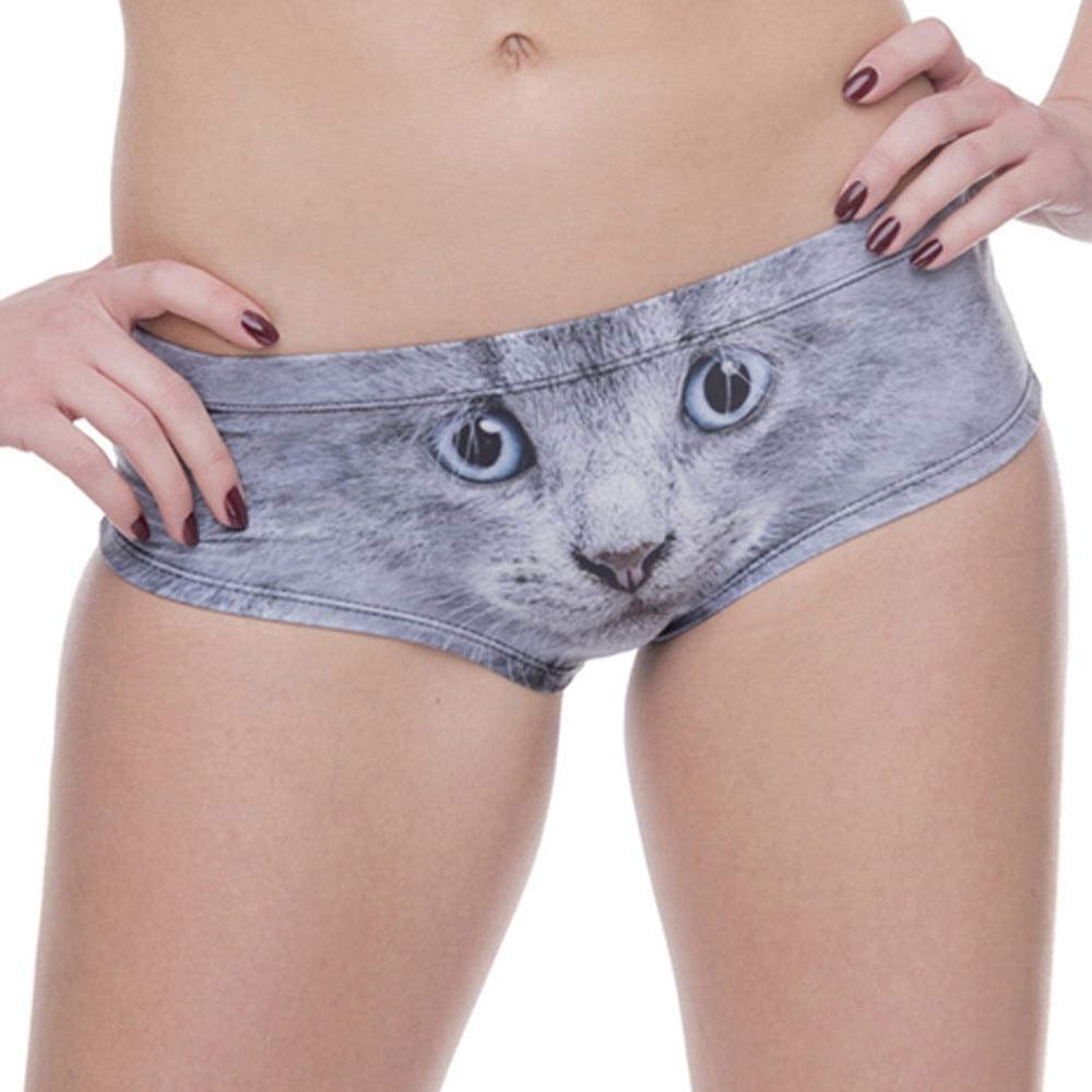 3D Printed cartoon animal Femme Sexy Underwear Cat Dog Print Women Calcinha Feminina With Ears Cute Panties briefs thong #555