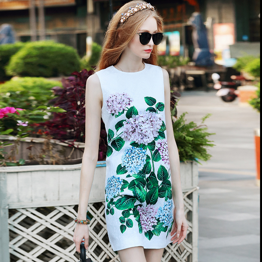 Slim Dresses 2018 Summer New Arrival Fashion Pretty Leaf Flower Print 3D Appliques White Sleeveless Vintage Dress For Women