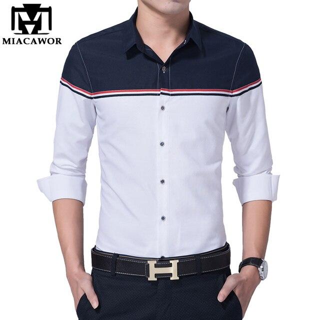 d5ad08337d5 2018 New Autumn Men Shirt Fashion Brand Design Dress Shirts Slim Fit Vetement  Homme Long-