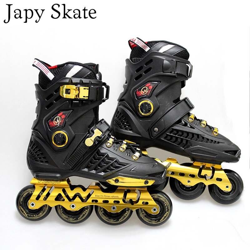Prix pour Jus japy Skate De Luxe Rouleau de Patins À Roues Alignées Adulte Skate Sneakers Quad Roues Inline Résistant Aux Chocs Skate Chaussures de Freinage Patins