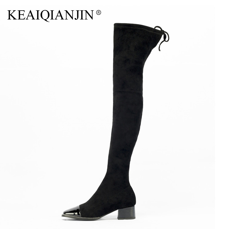 KEAIQIANJIN Woman Over The Knee Boots Plus Size Autumn Winter Rhinestone Shoes High Heel Boots Genuine Leather Knee High Boots plus size 34 43 autumn winter genuine leather women flower shoes lady high heel long boots embroidered over knee high snow boots