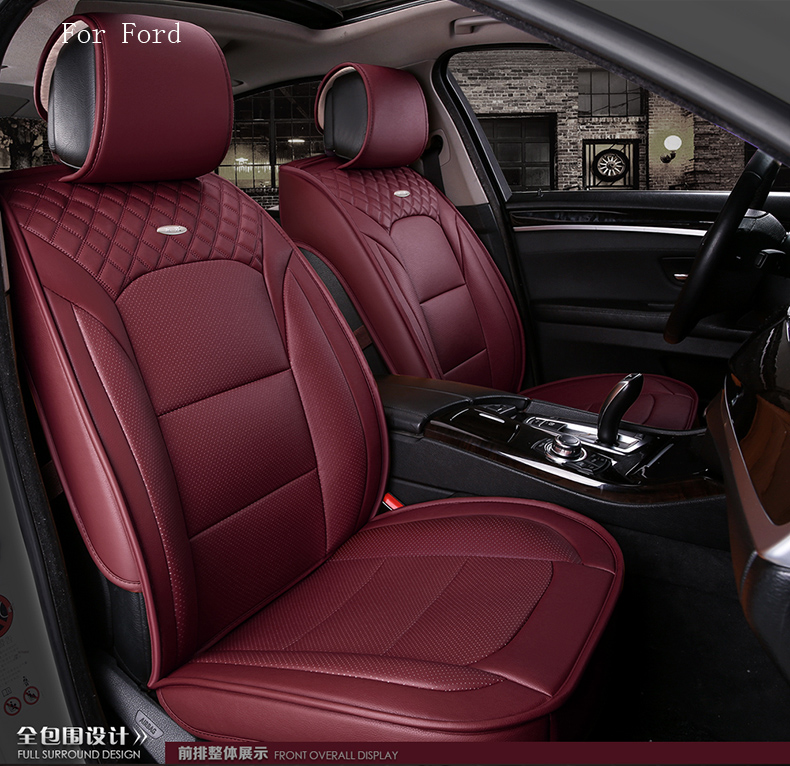 все цены на  waterproof pu leather car seat cover for ford focus 2 3 kuga ford fiesta mondeo fusion front rear full universal car  онлайн