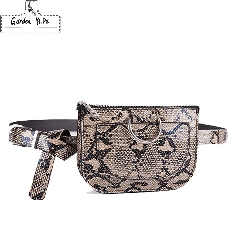 Women Waist Pack Serpentine Fanny Pack Pu Leather Chest Bag Female Fashion Snake Skin Belt Bag High Quality Purse