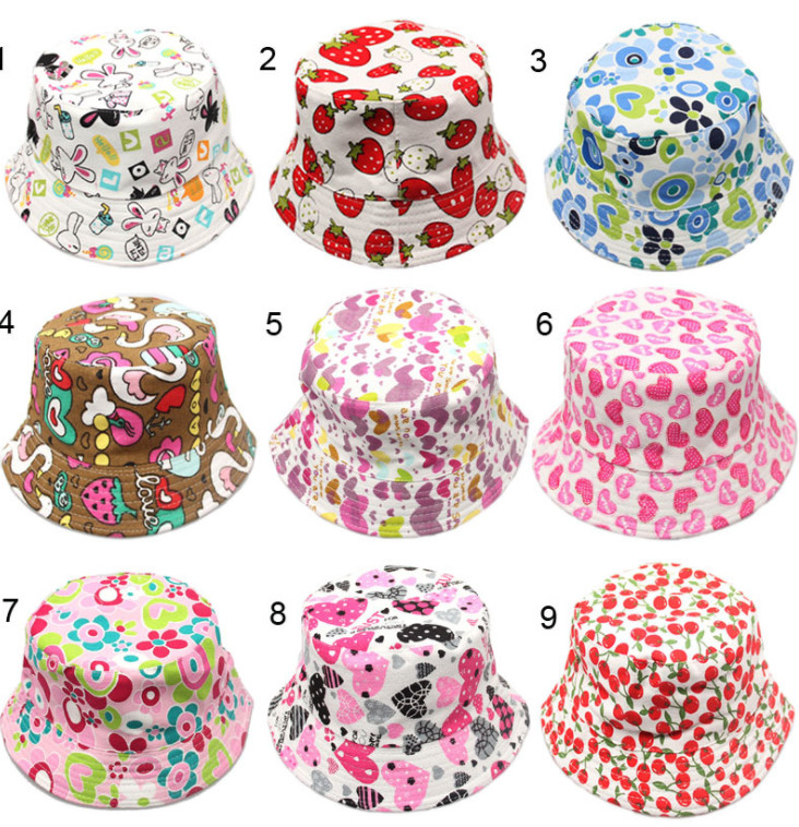 100pcs Outdoor Children Floral Bucket Hat Panama cap Cute Cotton Girls Boys Summer Beach Cap Fisherman Cap