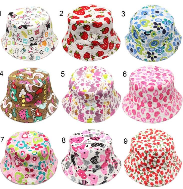100pcs Outdoor Children Floral Bucket Hat Panama cap Cute Cotton Girls Boys Summer Beach Cap Fisherman Cap