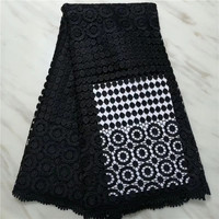 High quality cotton nigerian wedding african lace fabric/ guipure cord lace fabric for party dress in black color(16L 4 19