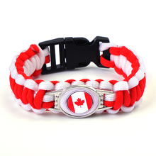 Canada Flag Charm Paracord Bracelet Survival Bracelet for 2018 World Cup Canada Team Fans Jewelry(China)