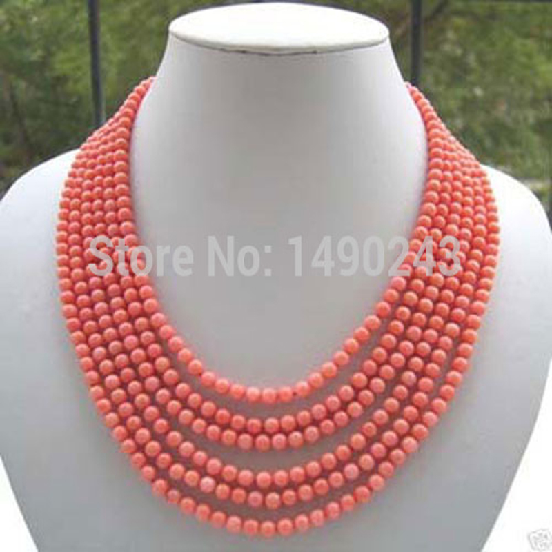 "6 rows 17-22"" inches 6-7mm Pink Round Natural Bamboo Coral Bead Necklace"