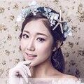 Blue Flower Headband for Women Starfish Hair Accessories Bridal Flower Crown Tiara Headband Wedding Birthday Party Gift  SG152