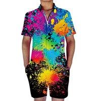 Painting Splatter Rompers Men 3D Print Funny Jumpsuit Playsuit Male Harem Overalls Summer One Piece Beach Slim Fit Men's Sets