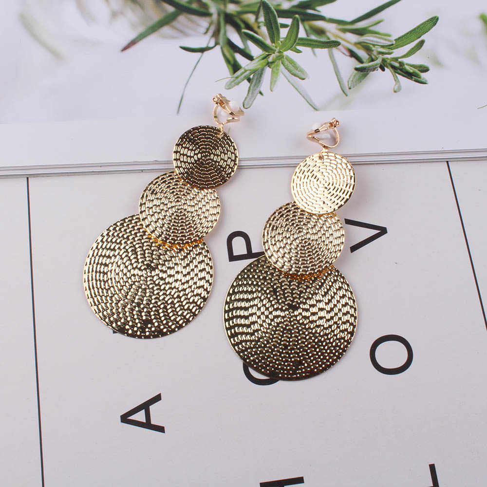 JIOFREE Long gold Silver Clip on Earrings For Women Vintage Earrings Without Piercing for Girls Kid Party Ear Clip