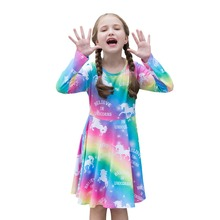 2019 New Cute Unique Rainbow Unicorn Girl Dress Long Sleeve O-neck Spring Princess Dresses Baby Childrens Clothing