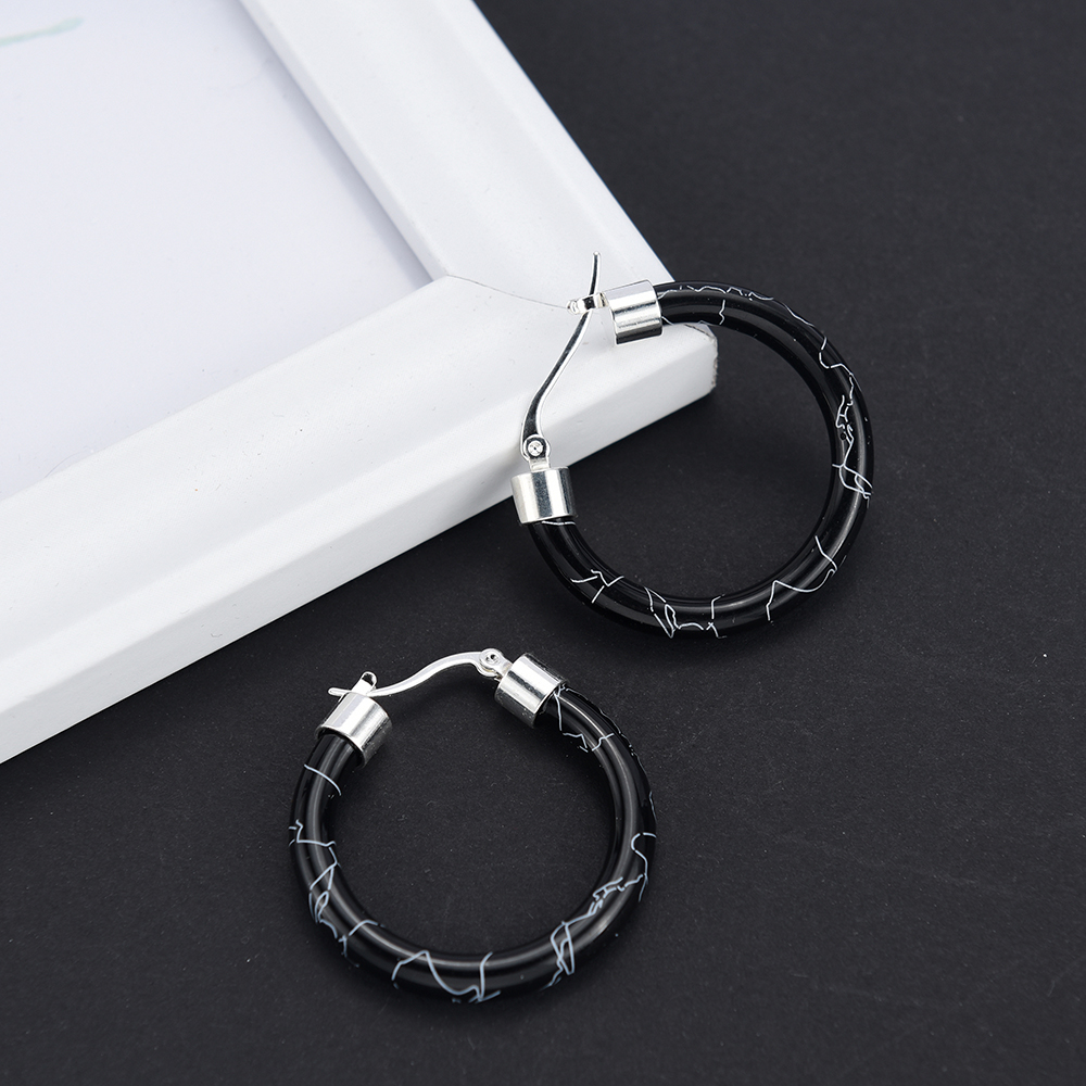 HTB1qjt4UhnaK1RjSZFBq6AW7VXaJ - White/Black/Red/Blue Bohemian Stainless Steel Big Round Circle Hoop Earrings For Women Exaggerated Charms Resin Printing Earring
