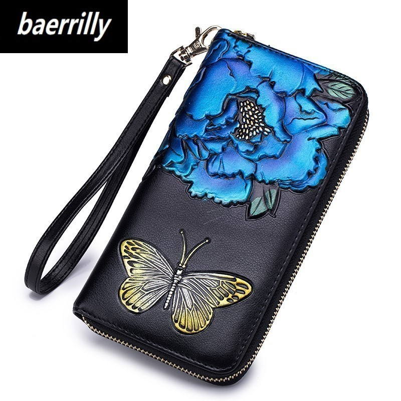 New Women Card Wallets Long Coin Purse Genuine leather Female Fashion Flower Bow Print Clutch Wallet Card Coin Phone Holder fashion women leather wallet female long card holder big stone wallets casual clutch zipper coin purse