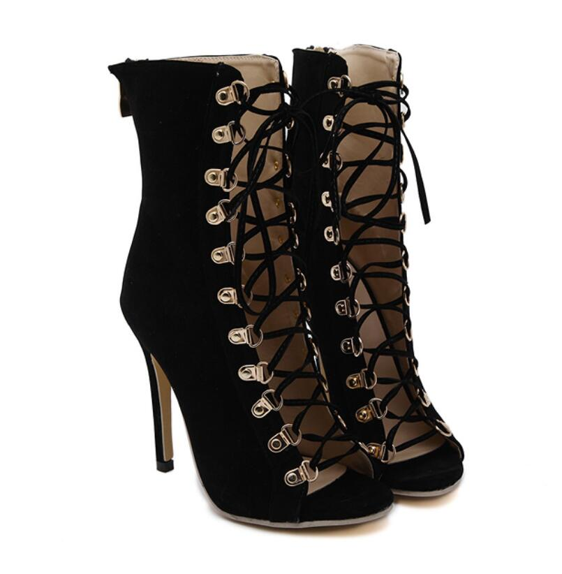 cbc4926b7bdd99 Sexy Chains Rope Sandals Strappy High Heel Gladiator Sandals Women Lace Up  Ankle Strap Women Shoes black Dress Shoes-in Women's Sandals from Shoes on  ...