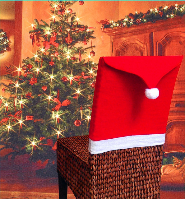 1pcs Santa Claus Cap Chair Cover Christmas Dinner Table Party Red Hat Back Covers Xmas