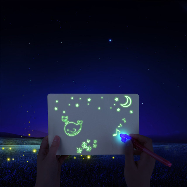 1PC A4 A5 LED Luminous Drawing Board Graffiti Doodle Drawing Tablet Magic Draw With Light-Fun Fluorescent Pen Educational Toy 5