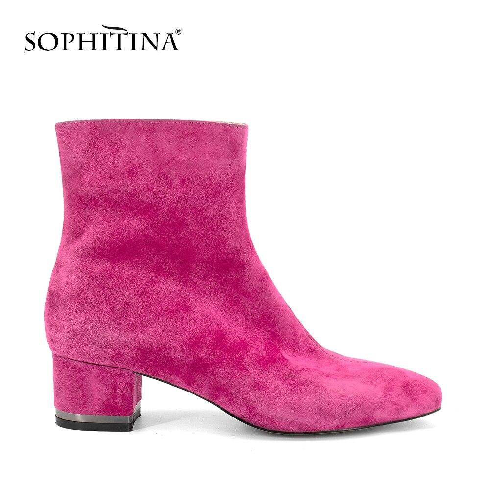 SOPHITINA rose bottines de haute qualité à la main marque femme chaussures talons carrés blanc en cuir verni chaud court en peluche bottes PB85 - 5