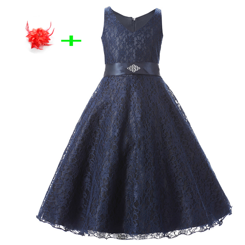 9 Colors Children lace elegant party clothes kids girls special occasion dresses diamond belted girl navy dress with headwear
