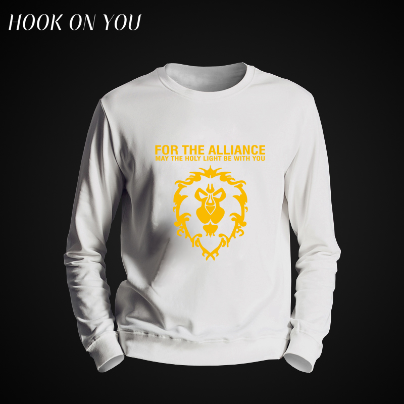 New Arrival Summer Cool Game WOW Fleece Men's DOTA Hoodie  For The Alliance Men Clotling Long Sleeve Casual O-neck Lion Tops