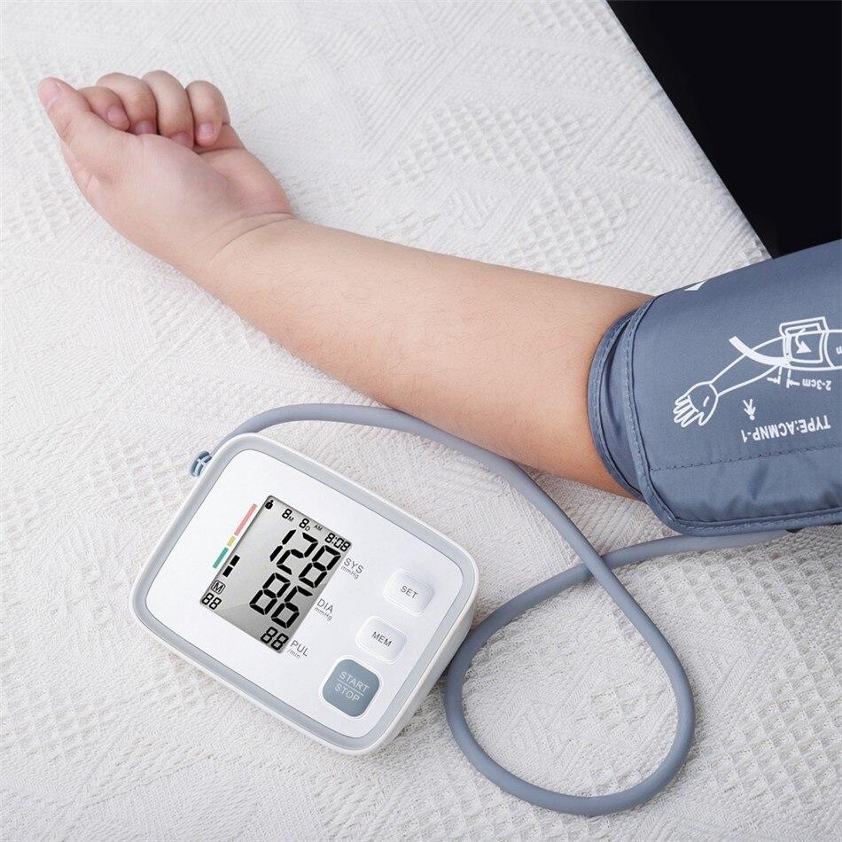 Vendita calda Per La Casa Salute e Bellezza Digitale Lcd Superiore di Pressione Sanguigna del Braccio Monitor di Battimento di Cuore Meter Macchina Tonometro per la Misurazione Automati