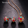 NEWBARK Jewelry Sets Colorful Crystal Perlas Rose Gold Plated Fashion Ball Pendants Necklace Earrings Parure Bijoux Femme Gift