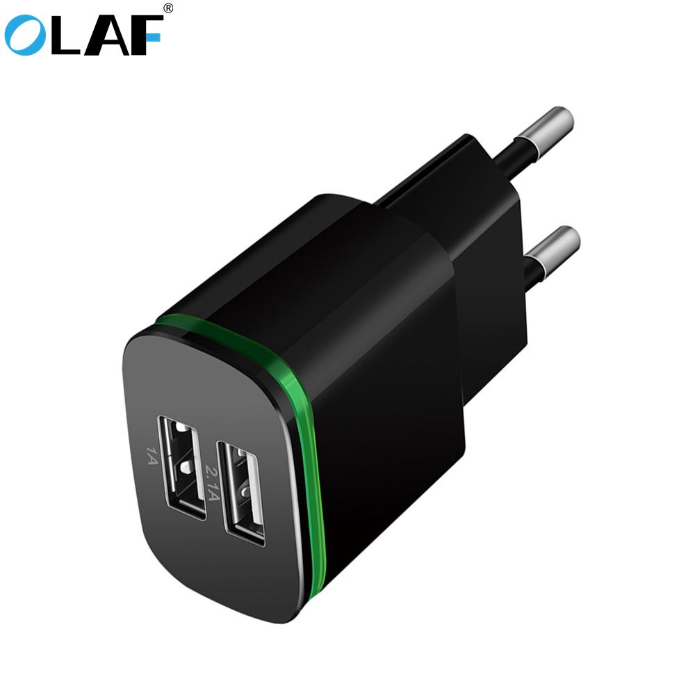 EU Plug 2 Ports LED Light USB Charger 5V 2A Wall Adapter Mobile Phone Data Charging Micro USB Cable For iPhone Samsung Type c