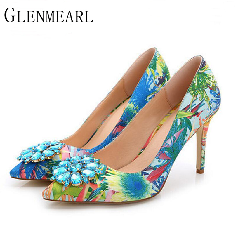 2019 Brand Women Pumps Fashion Rhinestone Pointed Thin High-hakken Dames Schoenen Plus Size High Heels Single Wedding Shoes XP30
