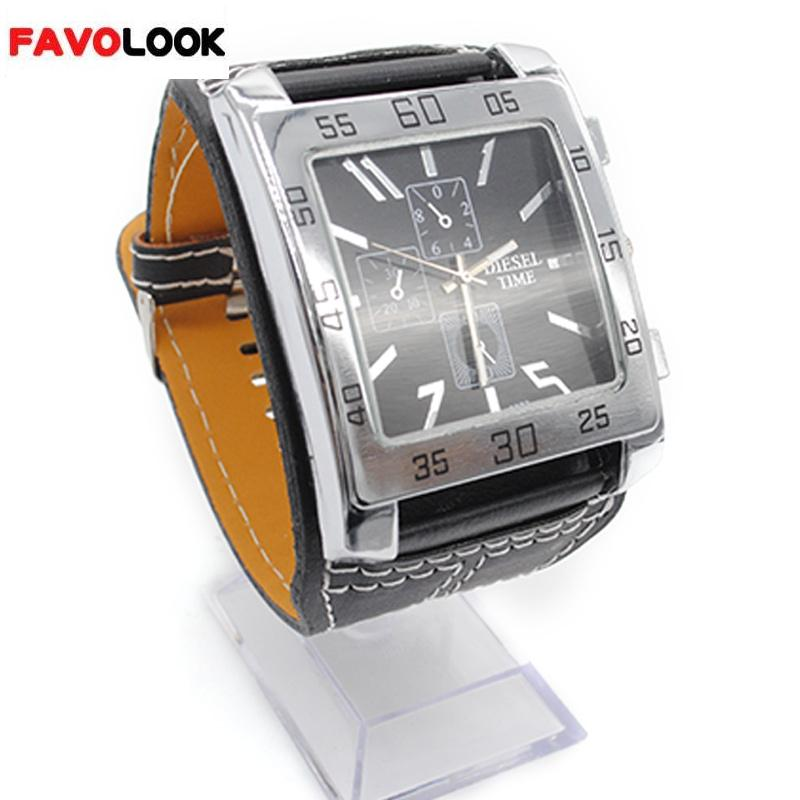 Wrist watches for men Brand fashion big square plate Hot sale PU leather quartz watch square plate watch