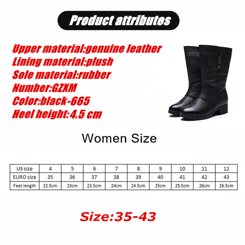 JUNFENGNIAO Women Casual Boots Shoes Female Cow Genuine Leather Hoof Heels Texture Knee High Winter Fur Plush Warm GZXM 665 in Knee High Boots from Shoes