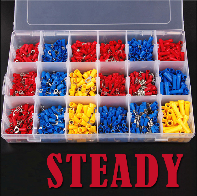 ФОТО 1200Pcs Assorted Insulated Spade Cable Connector Crimp Electrical Wire Terminal Set Red Blue Yellow