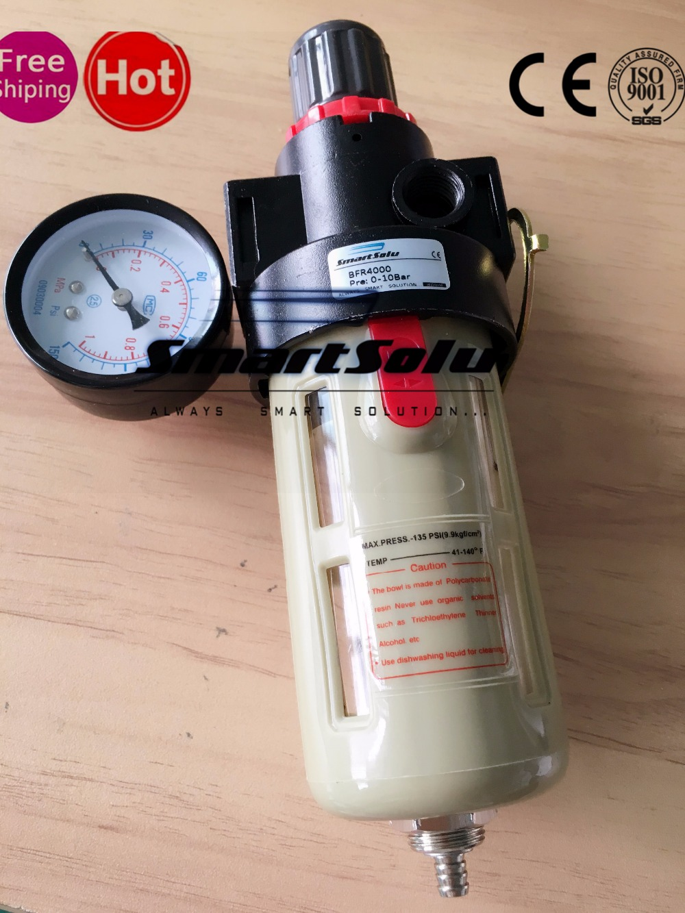 "1/2 inch"" Airtac BFR 4000 Source Treatment Unit , Pneumatic Air Filter Regulator With Pressure Gauge + Cover"""