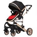 0-36 months Newborn Baby Stroller High Landscape Folding Stroller Aluminum Alloy Baby Car Shockproof Portable Widen Seat Pram