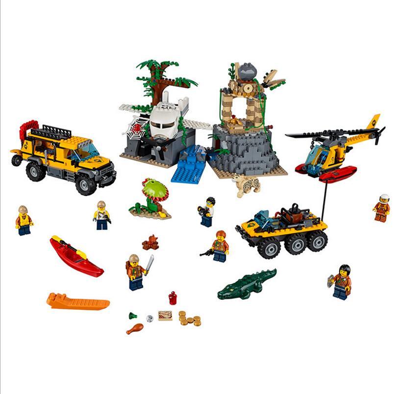 Lepin 60161 City Series Exploration Of Jungle Building Block Toys For Children 02061 Jungle Raiders Lost Ark Bricks Toy конструкторы lego lego city jungle explorer база исследователей джунглей 60161
