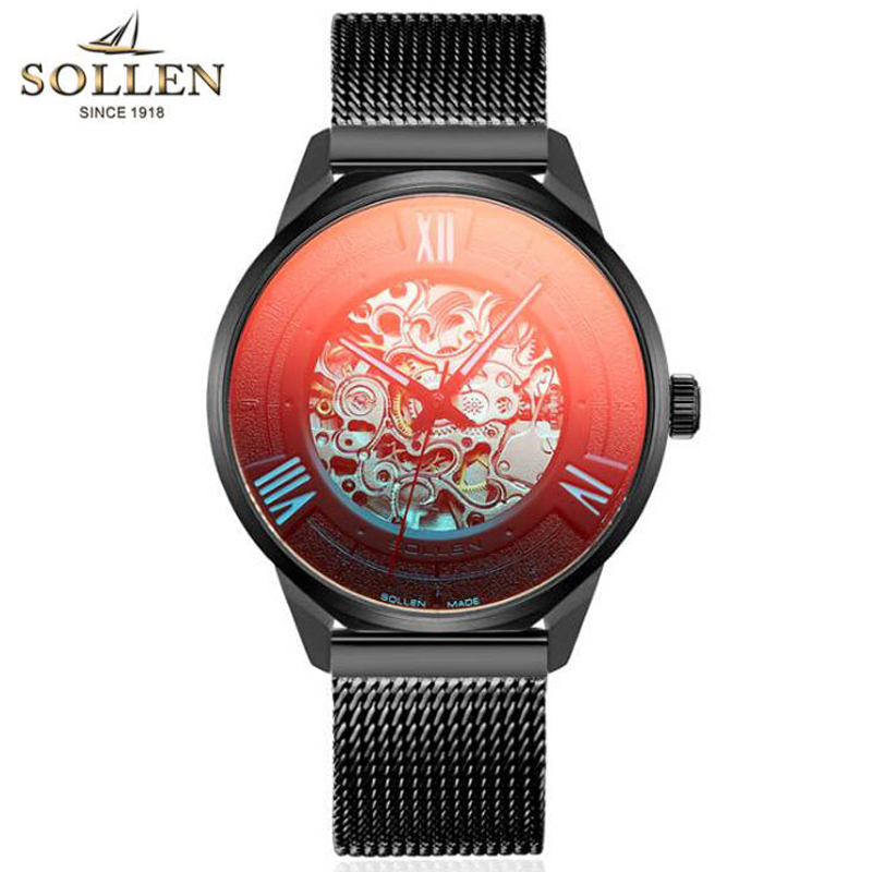 SOLLEN Transparent Case Fashion 3D Logo Engraving Black Stainless Steel Men Mechanical Watch Top Brand Luxury Skeleton WatchSOLLEN Transparent Case Fashion 3D Logo Engraving Black Stainless Steel Men Mechanical Watch Top Brand Luxury Skeleton Watch