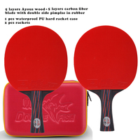 2 rackets 1 racket case New Double Fish Red Black Carbon fiber Table tennis racket paddle ITTF approved rubber loop fast attack