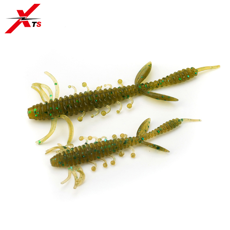 XTS Fishing Lures 75mm 100mm Wobblers 6 Pieces Bag High Quality Artificial Worm Bait 5 Colors Soft PVC Material Baits 3810 in Fishing Lures from Sports Entertainment