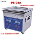 1 unidad 110 V/220 V PS-08A 60W calentador pequeño y temporizador limpiador ultrasónico digital 1.3L para gafas, maquinilla de afeitar, cesta libre de joyas