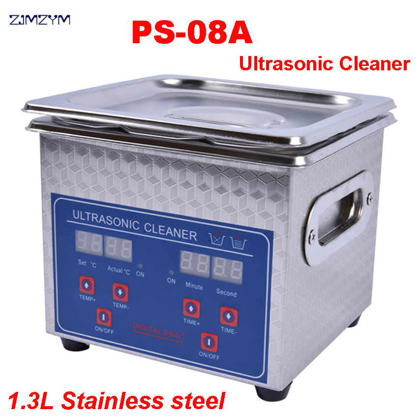 1PC 110V/220V PS-08A 60W Small Heater&timer Digital Ultrasonic Cleaner 1.3L For Glasses,Razor, Jewellery Free Basket