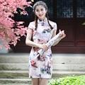 New Arrival Chinese Style Vintage Short Dress Women Cotton Linen Print Qipao Summer Casual Sexy Cheongsam S M L XL XXL 2611
