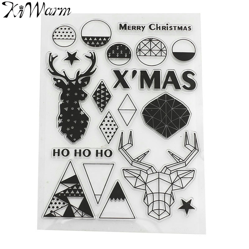 Merry Christmas Deer Head Clear Stamp Transparent Stamp Silicone Stamp Scrapbook DIY Photo Album Diary Cards Account Decoration