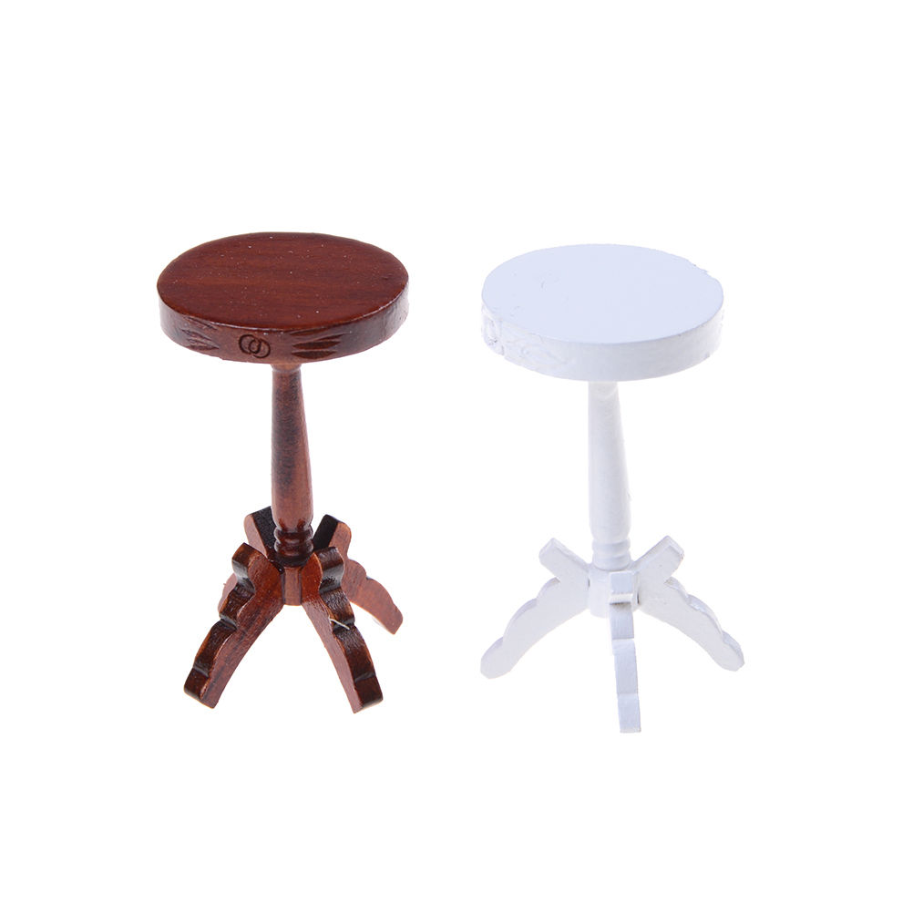 Mini New Wooden Round Coffe Table 1:12 Dollhouse Miniatures Pretend playhouse toys White Brown colors ...