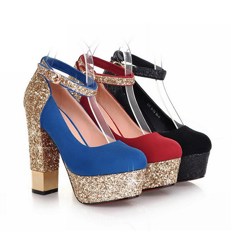ENMAYLA Elegant Round Toe Square Heel Women Pumps Sparkle Platform Pumps Women Sexy High Heels Strappy Glitter Women Shoes Red in Women 39 s Pumps from Shoes