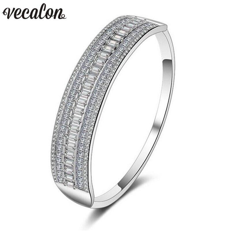 Vecalon Luxury Bracelet Princess cut 5A Zircon Cz White Gold Filled wedding bangle for women Bridal accessaries Jewelry