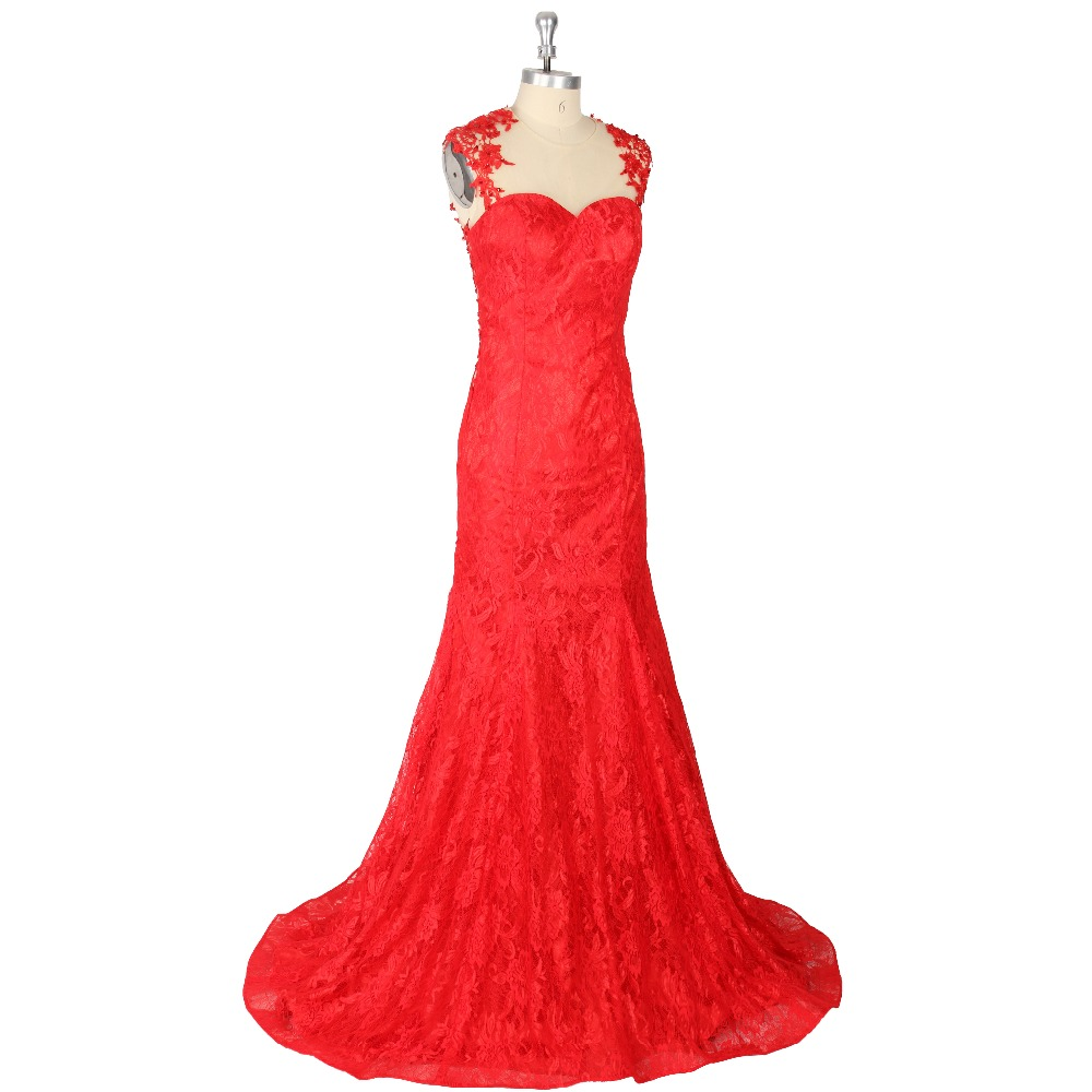 2017 Sexy Red Trumpet/Mermaid Sleeveless Jewel Neck Zipper Floor-length Sequins Lace Backless Tulle Formal   Prom     Dress   Evening