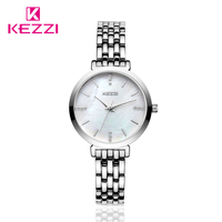 Caliente Kezzi Marca de Fábrica Superior de Lujo Nueva Cadena de Plata de La Manera Mujeres Del Reloj de Oro de Acero Inoxidable Reloj de Pulsera de Cuarzo Relojes Kw1447