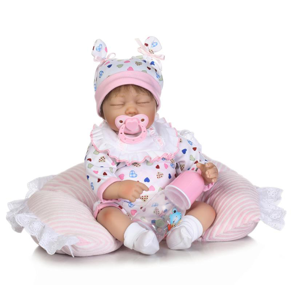 Close Eyes Soft Silicone Baby Dolls Truly 16'' Realistic Reborn Babies Alive Lifelike Doll Toys For Toddler kids Birthday Gifts npk lifelike 16 soft silicone reborn baby dolls truly pretty girl reborns realistic babies doll wear dress toddler playmate